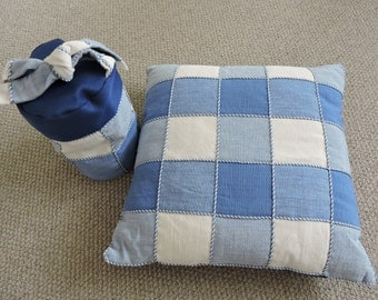 "15"" Feather Cushion Pad with Blue Checkered Cover"