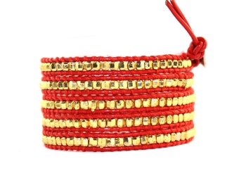 Scarlet Beaded Leather Wrap Bracelet