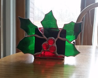 Holly leaf stained glass candle holder