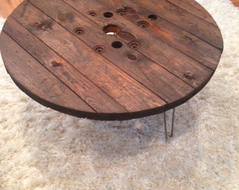 Handmade wooden spool tables with iron hairpin legs