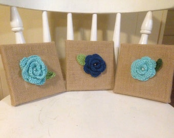 Set of 3 burlap wall decor