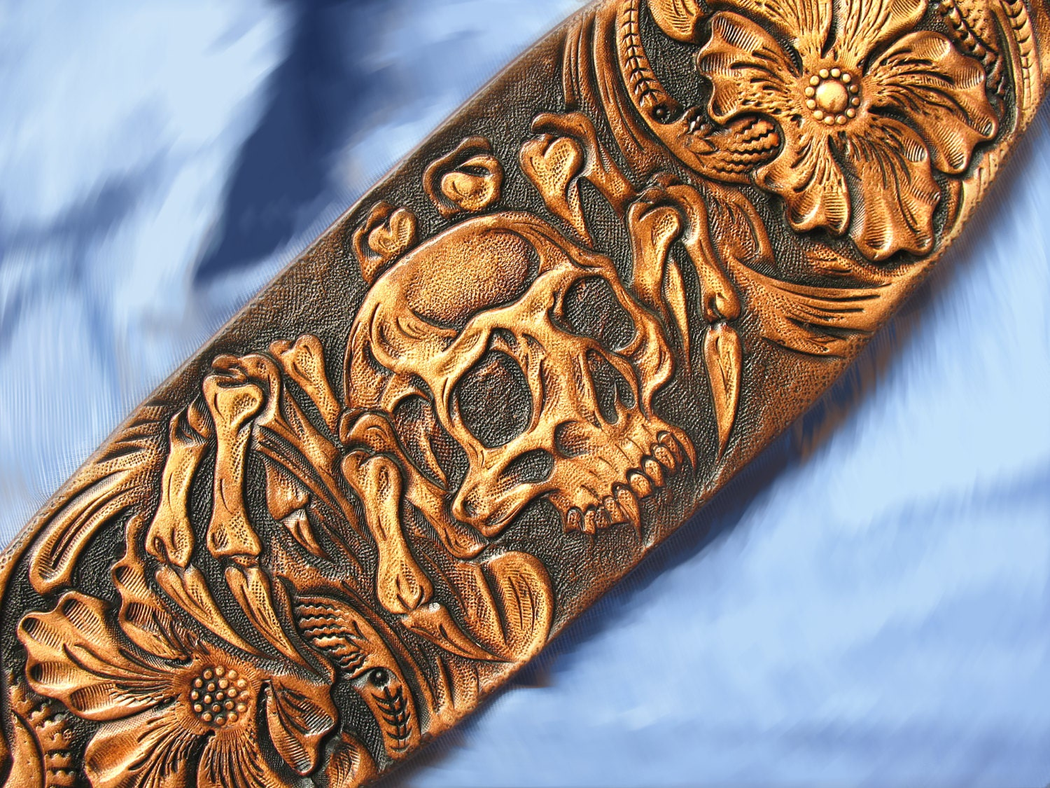 Dog collar hand tooled carved sheridan western