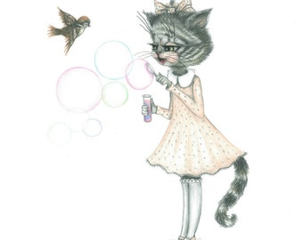 cat blowing bubbles