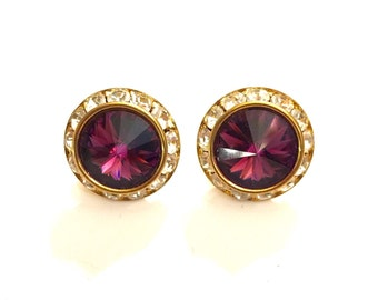 Vintage purple and clear rhinestone pierced earrings