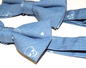 Bow tie blue Texan drawings skulls kawaii, skull Bow tie for wedding, bow tie, BowTie preatadas man, original gifts for man