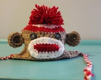 Sock Monkey Hat, Photo Prop, Crocheted Monkey Toque, Baby Hat, Newborn baby photo prop, Baby shower gift