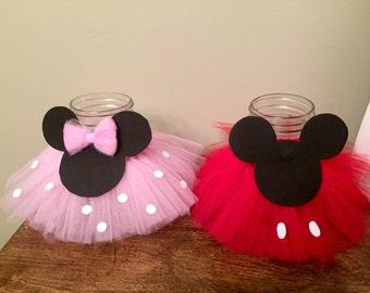 Mickey and Minnie inspired centerpieces, Minnie Mason Jar, Mickey Mason Jar, Party Decor