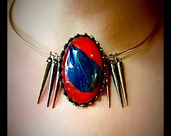 Edgy Feather and Spike Pendant Necklace