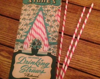 Box of Vintage Paper Straws