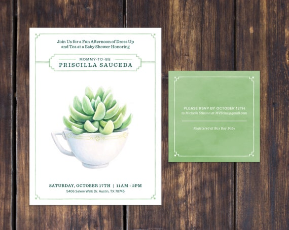 Rustic Succulent and Tea Baby Shower Invitation