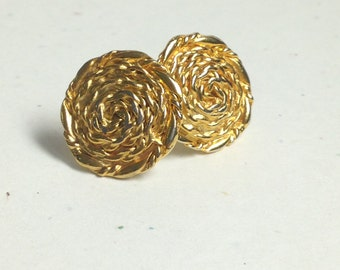 Golden rope vintage button earings