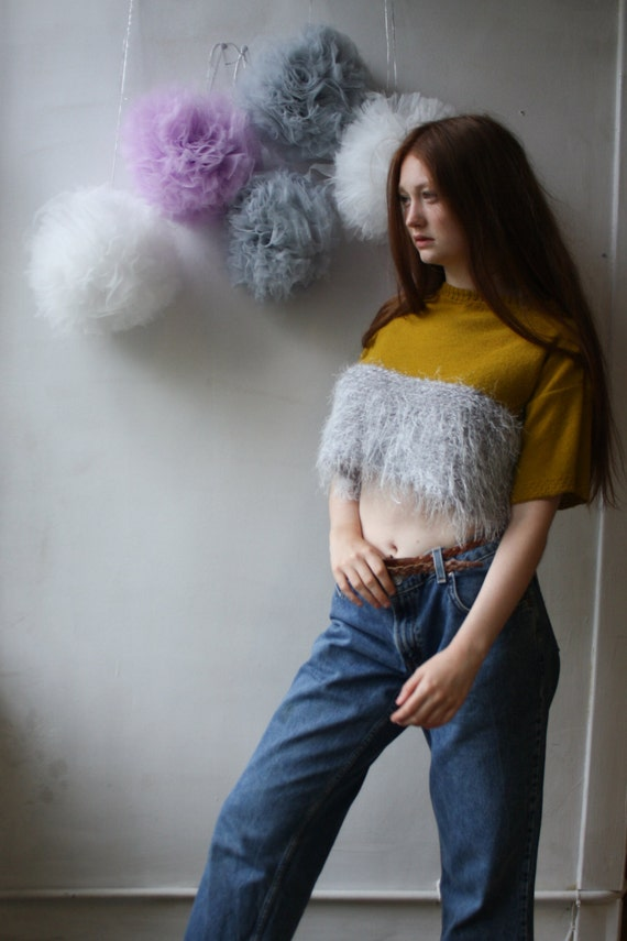 Knitted Cropped Jumper in Golden Yellow / Fluffy Boxy Cropped Sweater/ Loose Fit Cropped Jumper