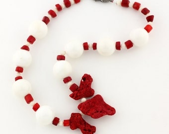 Natural Red and Natural White Coral Necklace With Red Focals KC3818