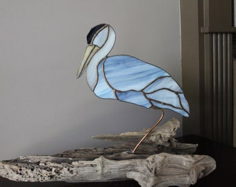 Grey Heron Stained glass