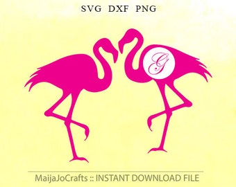 Pink Flamingo svg Monogram Frame SVG Scan N Cut Clipart PNG Silhouette Cameo Cricut Cut File SVG Cricut files Cricut downloads cricut design