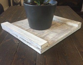 Distressed wooden tray