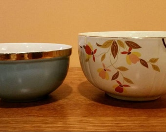 Vintage Hall's Superior Quality Kitchenware Autumn Leaf Mixing Bowl and Small Blue Mixing Bowl with Gold Trim.