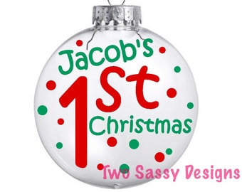 Personalized First Christmas Glass Ornament, Baby's First Christmas Glass Ornament With Vinyl