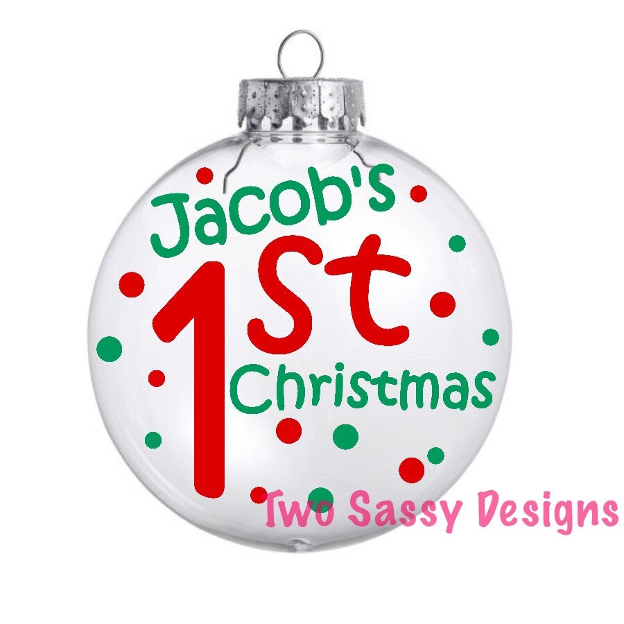 Personalized first christmas glass ornament baby s