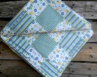 Flannel Baby Blanket, Green, Yellow, Blue, Baby Blanket, Baby Shower Gift, Boy Blanket, Girl Blanket