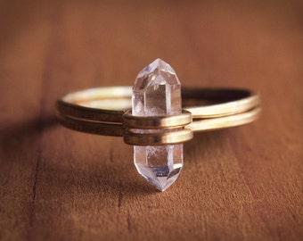 Raw Gemstone Ring, Raw Stone Ring, Raw Quartz Ring, Herkimer Diamond Knuckle Ring