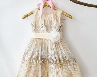Champagne Sequin Flower Girl Dress Junior Bridesmaid Wedding Party Dress M004