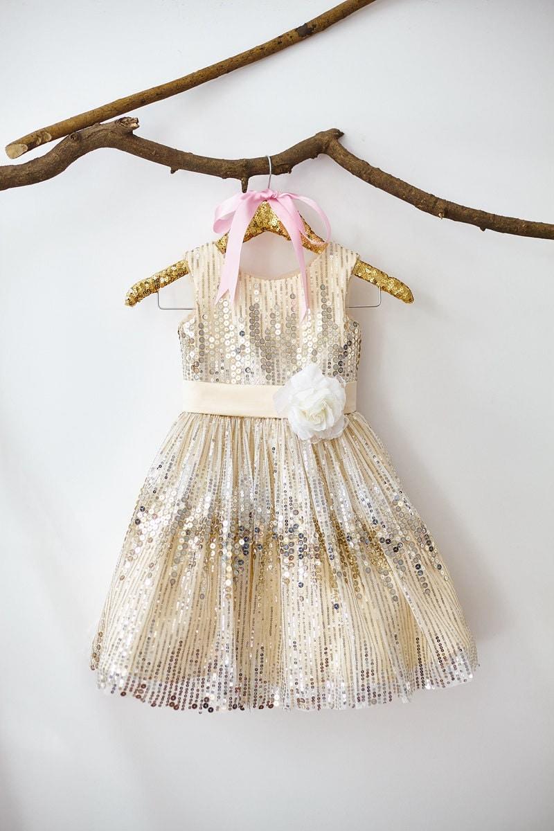 Champagne sequin flower girl dress junior bridesmaid for Champagne seguin