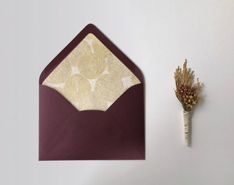 Set of 5 Gold Floral Envelope Liners, Handmade Paper, Mums, Cream, A7, Wedding Invitation