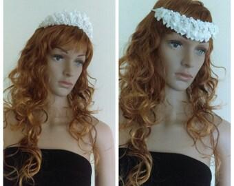 Reversible White Bridal Head Piece/ Bridal Tiara/ White Head Piece with Lace/ 1960's Tiara/ Lace Tiara/ White Lace Tiara/ Vintage Tiara