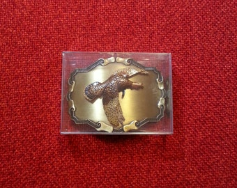 "Vintage Belt Buckle Raintree Flying Turkey Mens Belt Buckle Raintree Jewelry ""Mint Condition"""