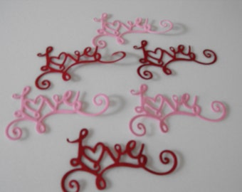 Die Cut Cardstock Love Word Embellishment, Valentine's Day, Cards, Scrapbooks, Gifts, Tags, Decorations