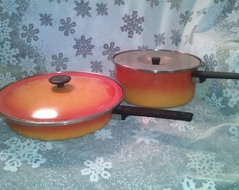 Vintage Ekco Pots and Pans, Vintage Pots and Pans, Ekco Cookware, Ekco, Vintage Cookware, Orange Cookware, Ombre Cookware, Vintage Kitchen
