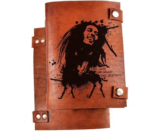 Bob Marley journal - reggae notebook - Bob Marley sketchbook - Jamaica gift - leather diary - Rastafarian gift - Rasta notebook