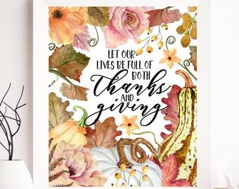 Thanksgiving printable, thanksgiving card, thanksgiving decor, thanksgiving art, give thanks, pumpkin printable, pumpkin print, pumpkin art