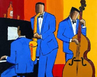 Poster Blue jazz trio signed O.BOISSINOT