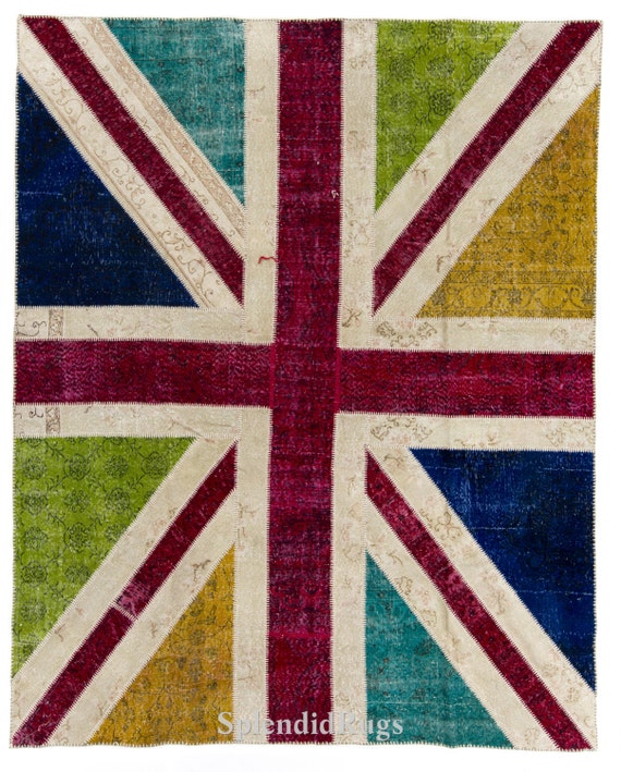 British Flag Union Jack Design Contemporary Patchwork Rug