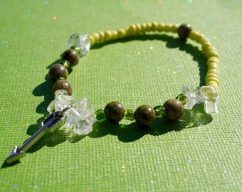 Item #15, Beaded, Bracelet, Quartzite, Unakite, Jasper, Crystal, Metaphysical, Lyme Disease, Lyme Awareness Jewelry