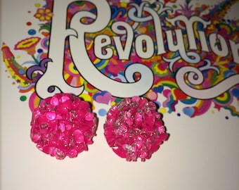 Vintage vibrant clip on earrings