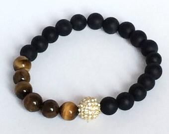 Tiger Eye and Onyx Bracelet, Gold Cz Pave Bead, Black Onyx, Tiger Eye Beads Jewelry, Onyx Jewelry, Boho, Men, Women, Gemstone Jewelry