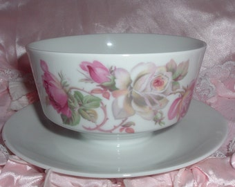 sauce boat, gravy holder, gravy boat Bavaria with pink roses