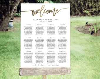 Wedding Seating Chart Template | Editable PDF, Printable Seating Plan Poster, Seating Board | Calligraphy Lettering Gold | ED 5185