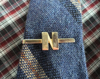 """Vintage Tie Bar with the letter """"N"""" Engraved. Gold Tie Clip Antique"""