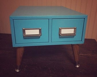 Upcycled Card File Catalog in Turquoise