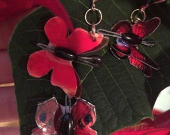 3D Red Butterfly Earrings