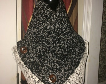 Crochet Neck Warmer - Black and Gray