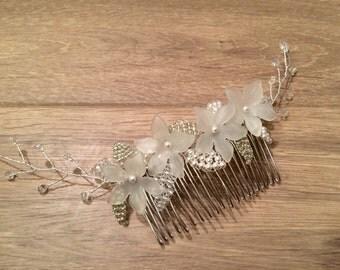 Bridal Hair Comb, Silver Leaf Hair Comb