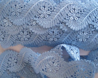 Venise Lace edging hand dyed 1 yard in French Blue for earings,  handbag trim, card making jewellry