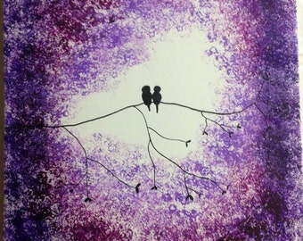Birds on a Branch, Purple Silhouette