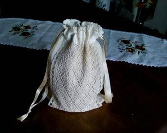 Cream lace regency inspired ridicule/bag