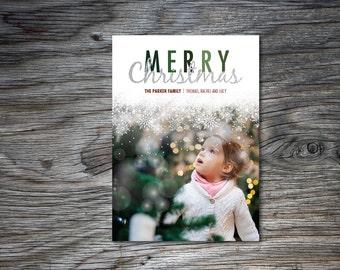 Photo Christmas Card, Printable Christmas Card, Holiday Card, Merry Christmas, Snow, One Photo, 5x7, 4x6, White, Red and Green, DIY, Digital